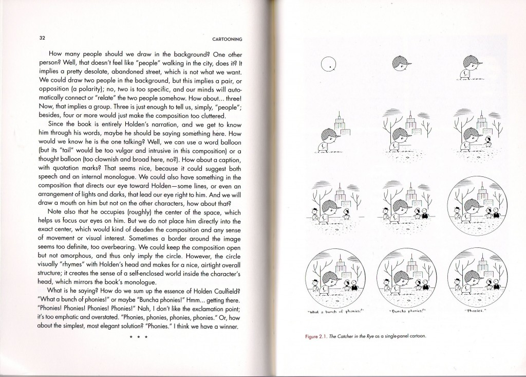 From Ivan Brunetti's Cartooning Philosophy and Practice (2007, 2011): The Catcher in the Rye as a single-panel comic